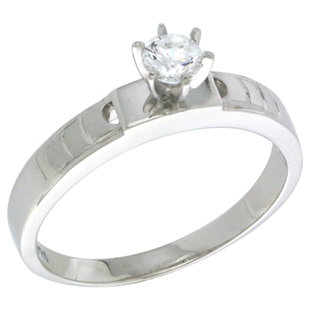 Sterling Silver Cubic Zirconia Solitaire Engagement Ring 0.5 ct size Brilliant Cut 5/32 inch wide