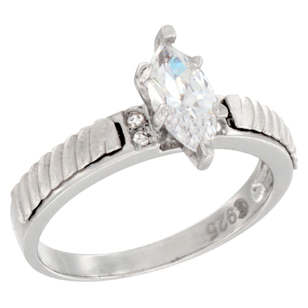 Sterling Silver Cubic Zirconia Solitaire Engagement Ring 0.95 ct Marquise, 7/16 inch wide, sizes 5 to 10