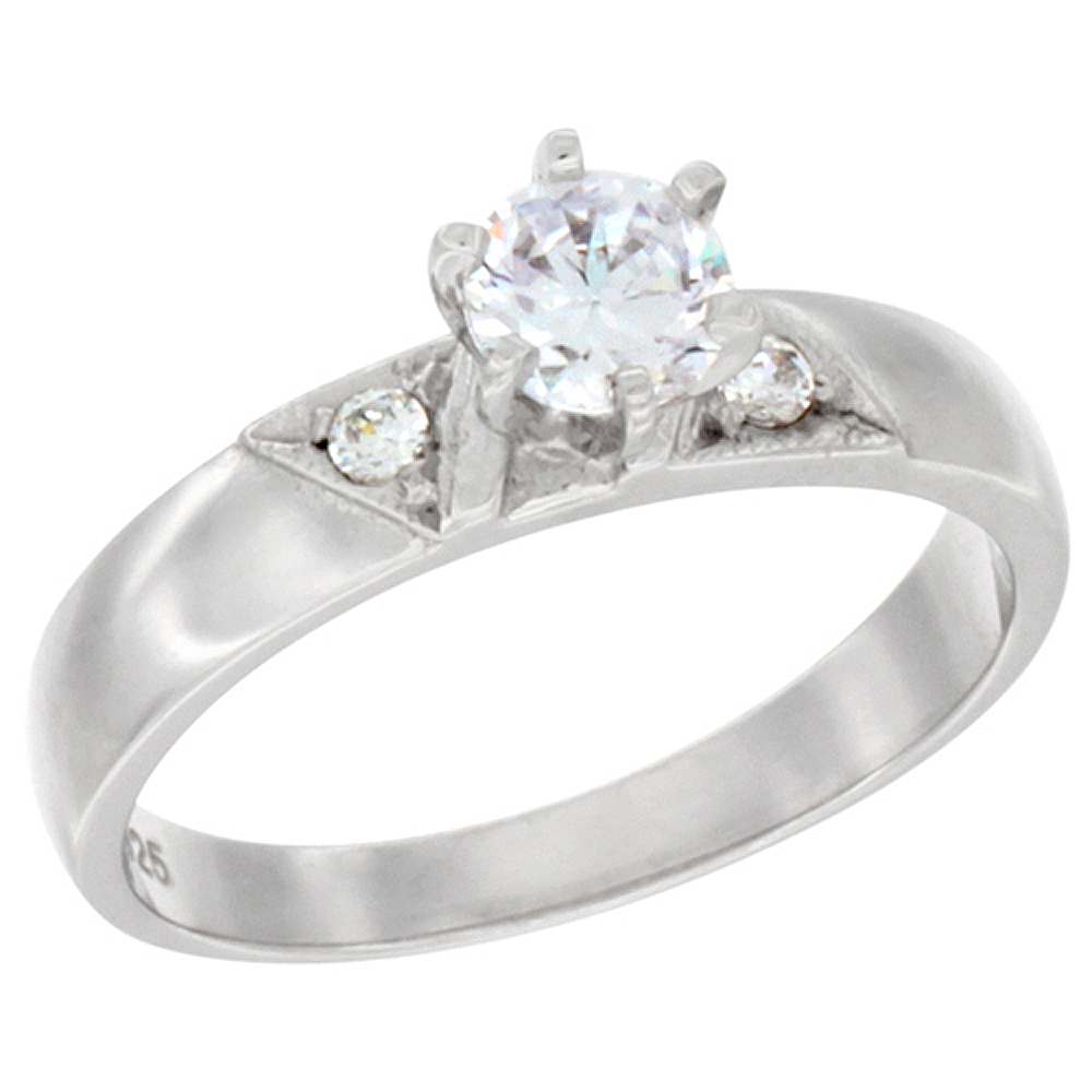 Sterling Silver Cubic Zirconia Solitaire Engagement Ring 1 ct Round, 1/4 inch wide, sizes 5 to 10