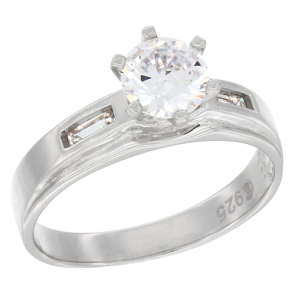 Sterling Silver Cubic Zirconia Solitaire Engagement Ring 1.25 ct Round, 9/32 inch wide, sizes 5 to 10