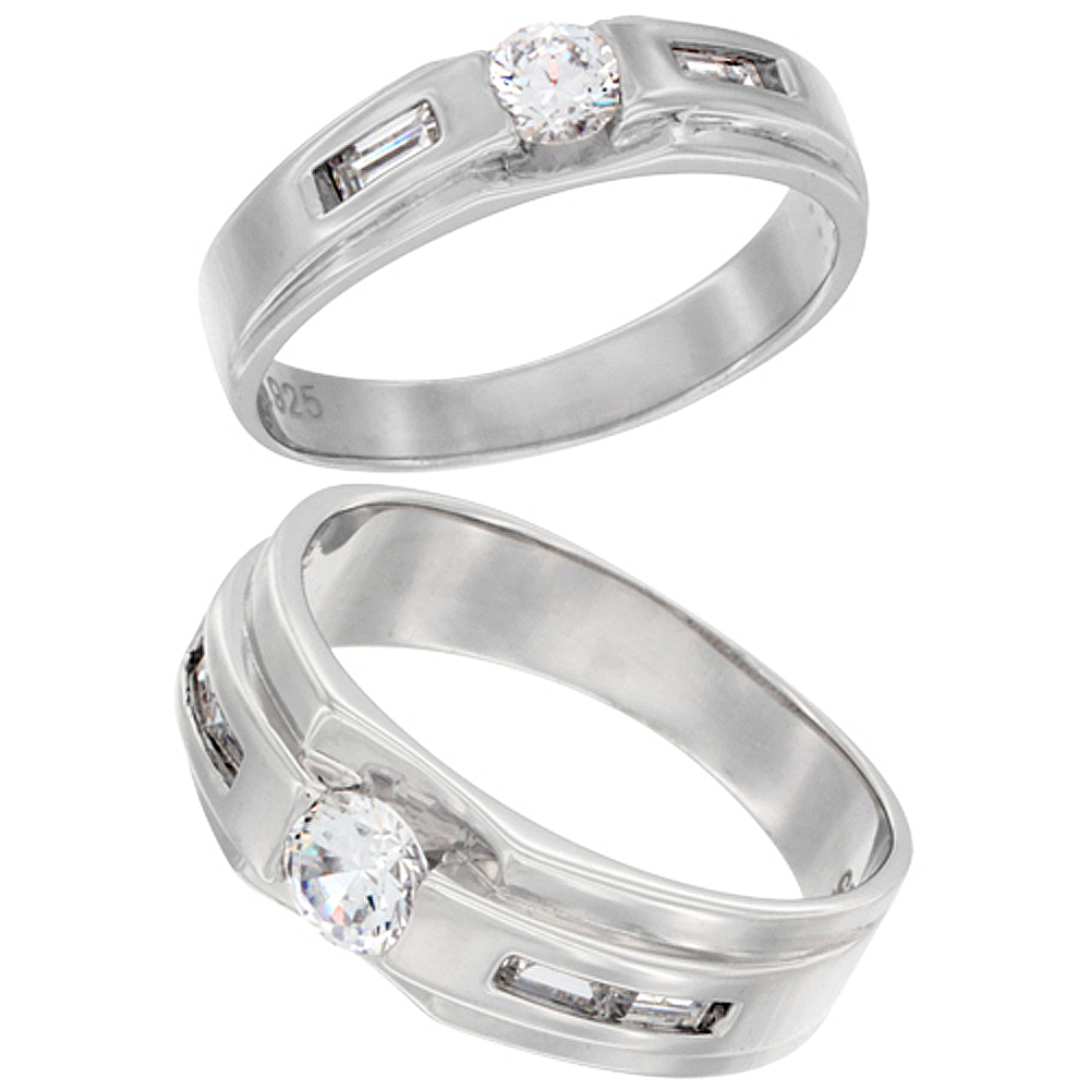 9//32 inch Wide Sterling Silver Cubic Zirconia Mens Wedding Band Ring Rectangular Design Sizes 8 to 14