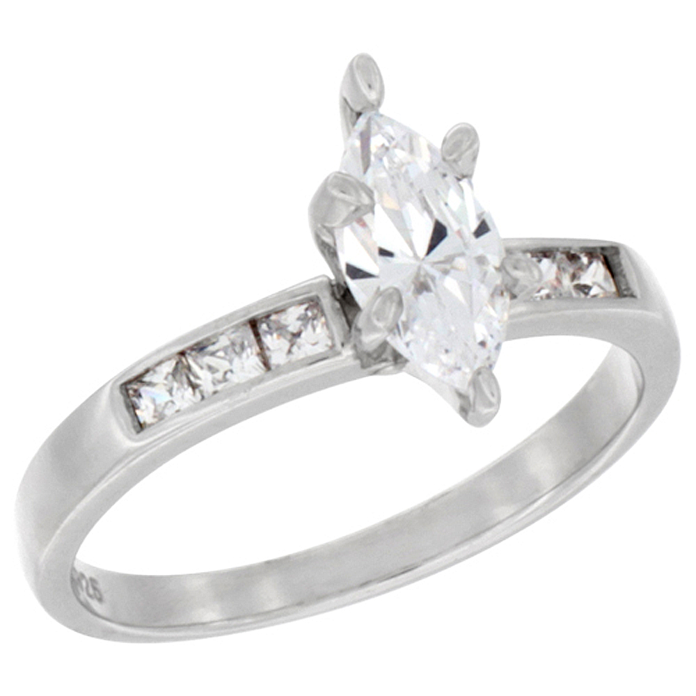 Sterling Silver Cubic Zirconia Solitaire Engagement Ring 1.5 ct Marquise, 7/16 inch wide, sizes 5 to 10