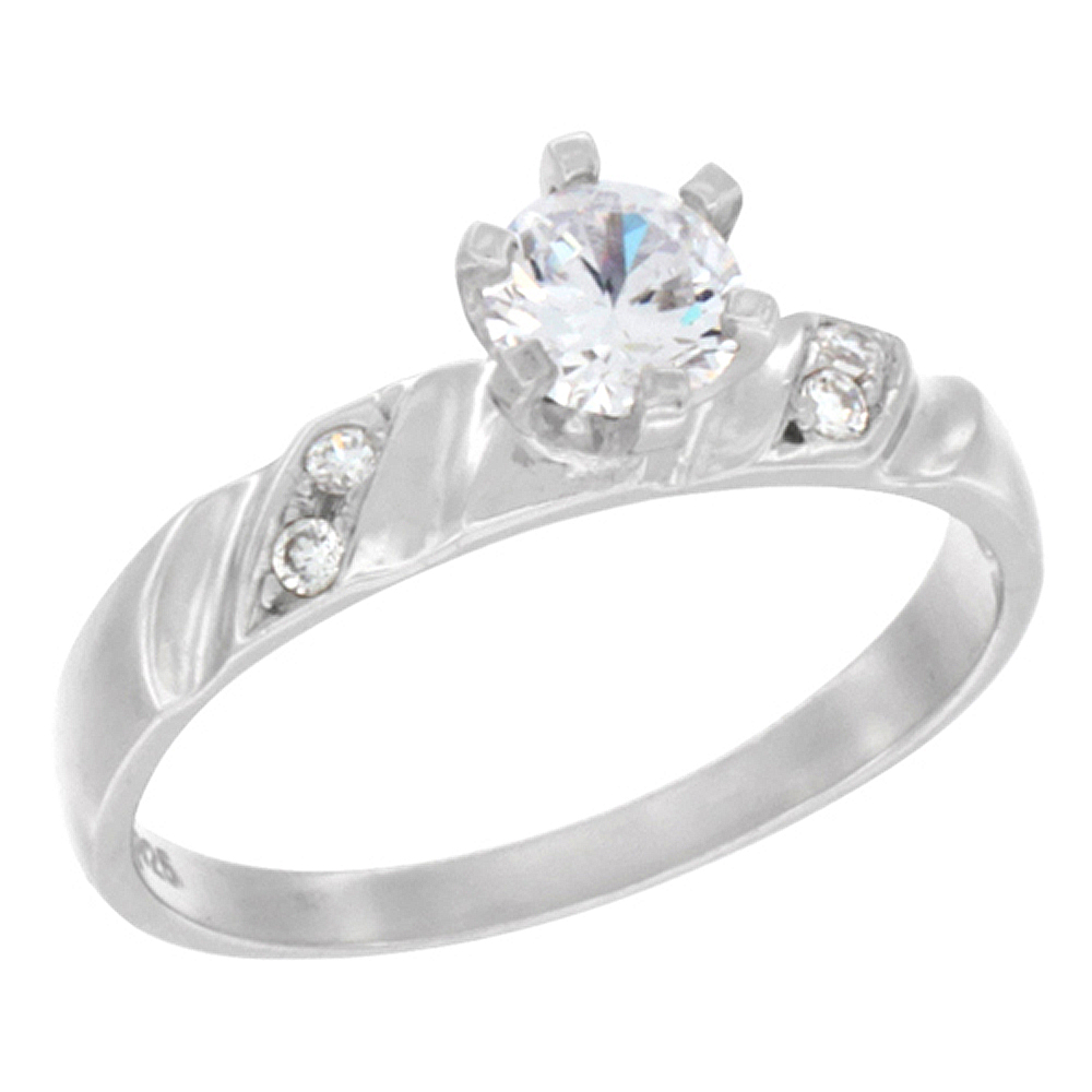 Sterling Silver Cubic Zirconia Solitaire Engagement Ring 1 ct Round, 7/32 inch wide, sizes 5 to 10