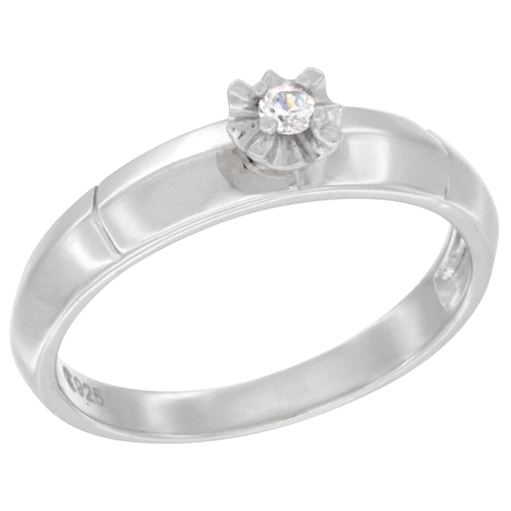 Sterling Silver Cubic Zirconia Solitaire Engagement Ring 0.05 ct Round, 3/32 inch wide, sizes 5 to 10