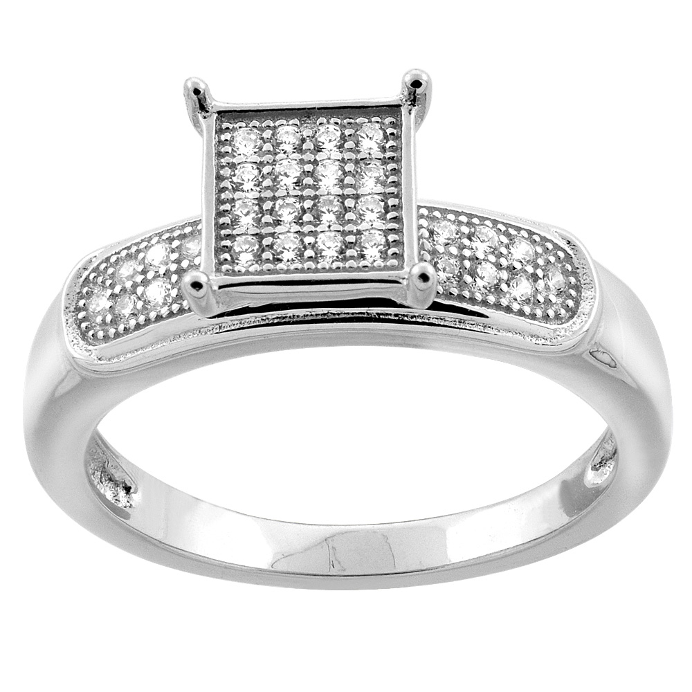 Sterling Silver Micro Pave Cubic Zirconia Pave Square Ladies' Engagement Ring, 1/4 inch wide, sizes 5 to 10
