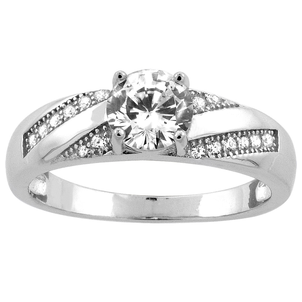Sterling Silver Micro Pave Cubic Zirconia 2ct. Round Solitaire Engagement Ring, 1/4 inch wide, sizes 5 to 10