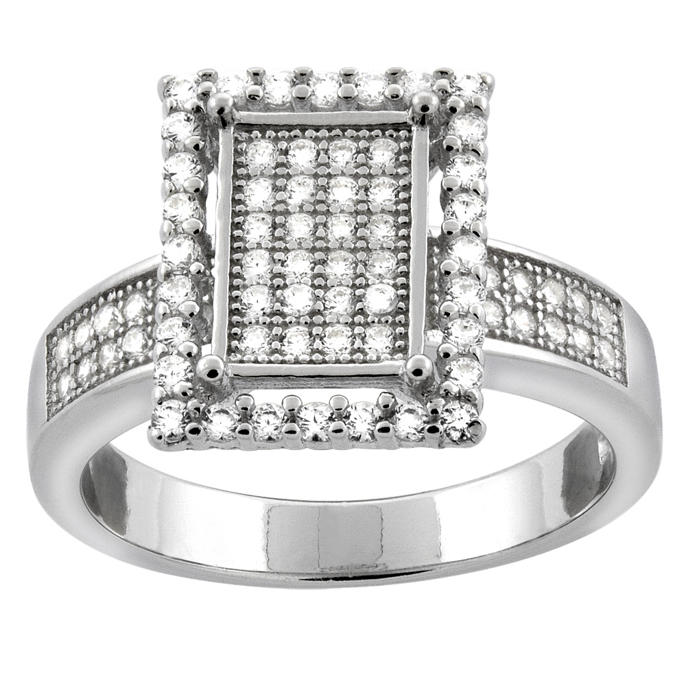 Sterling Silver Micro Pave Cubic Zirconia Rectangular Halo Ladies' Engagement Ring, 1/2 inch wide, sizes 5 to 10
