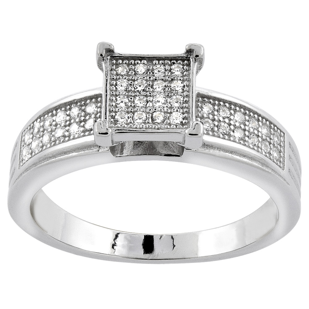 Sterling Silver Micro Pave Cubic Zirconia Square Ladies' Engagement Ring, 1/4 inch wide, sizes 5 to 10