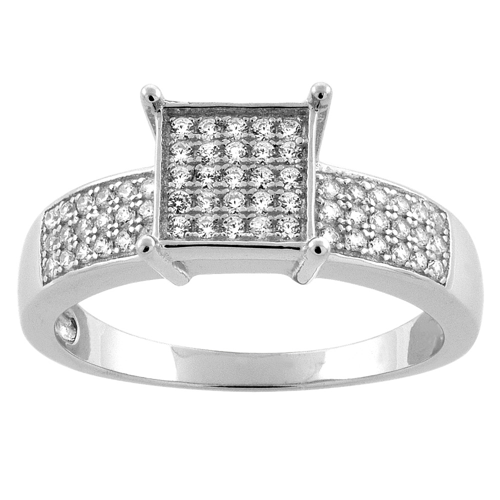Sterling Silver Micro Pave Cubic Zirconia Square Ladies' Engagement Ring, 5/16 inch wide, sizes 5 to 10
