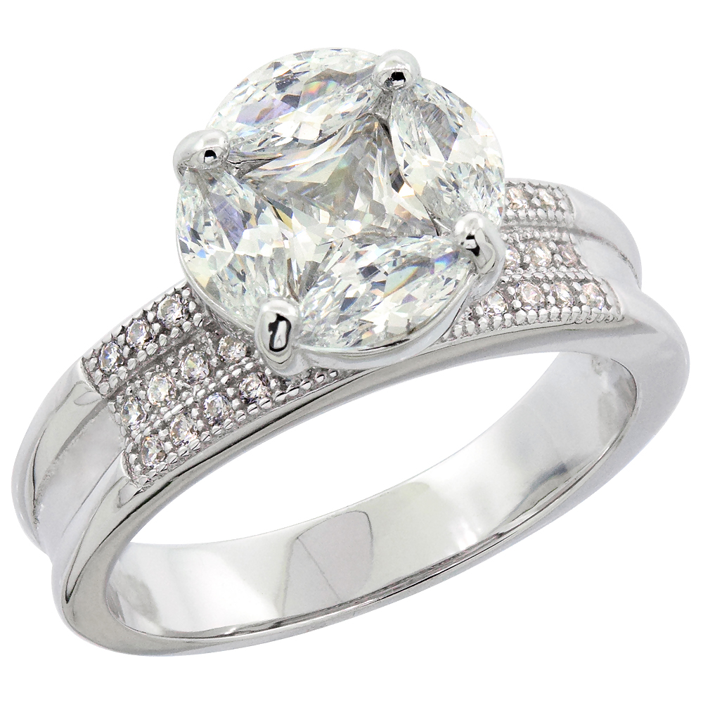 Sterling Silver Micro Pave Cubic Zirconia Round Ladies' Engagement Ring, 3/8 inch wide, sizes 5 to 10