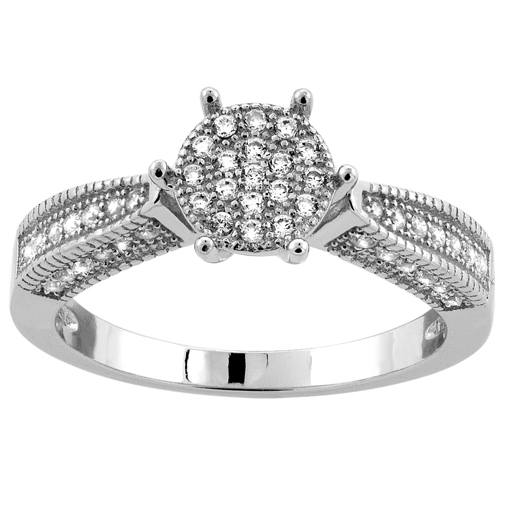 Sterling Silver Micro Pave Cubic Zirconia Round Ladies' Engagement Ring Millgrain-edge, 5/16 inch wide, sizes 5 to 10