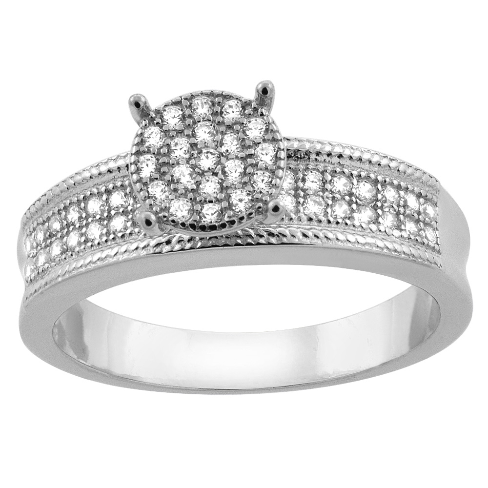 Sterling Silver Micro Pave Cubic Zirconia Round Ladies' Engagement Ring, 1/4 inch wide, sizes 5 to 10