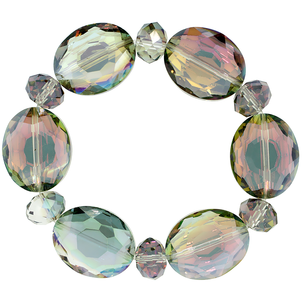 Cyclamen Opal Oval & Round Faceted Crystal Beads Stretch Bracelet, 7 inch long