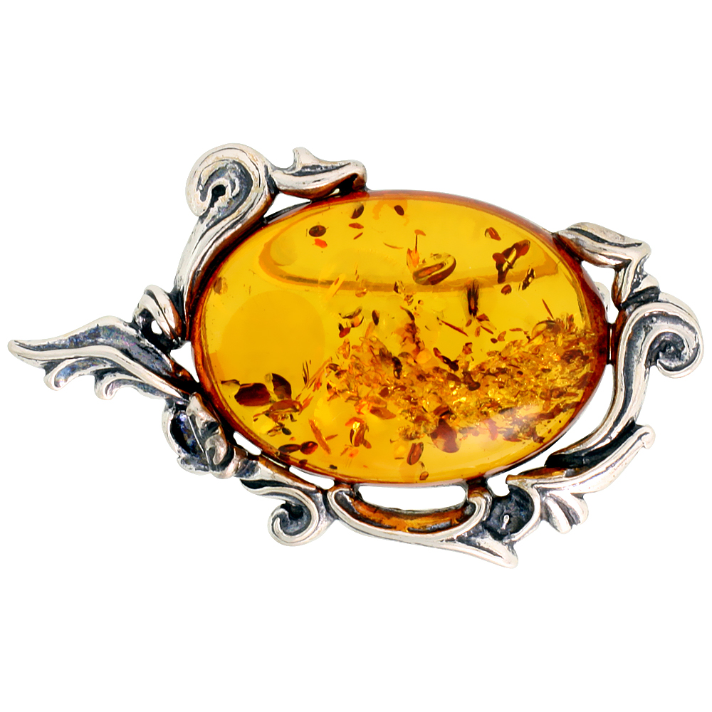 Sterling Silver Oval Russian Baltic Amber Brooch Pin, 1 7/8 inch wide
