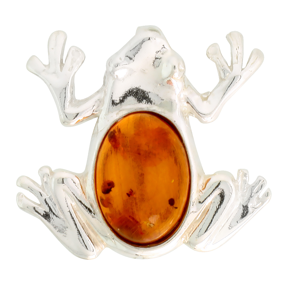 Sterling Silver Frog Amber Brooch Pin, 1 1/16 inch wide