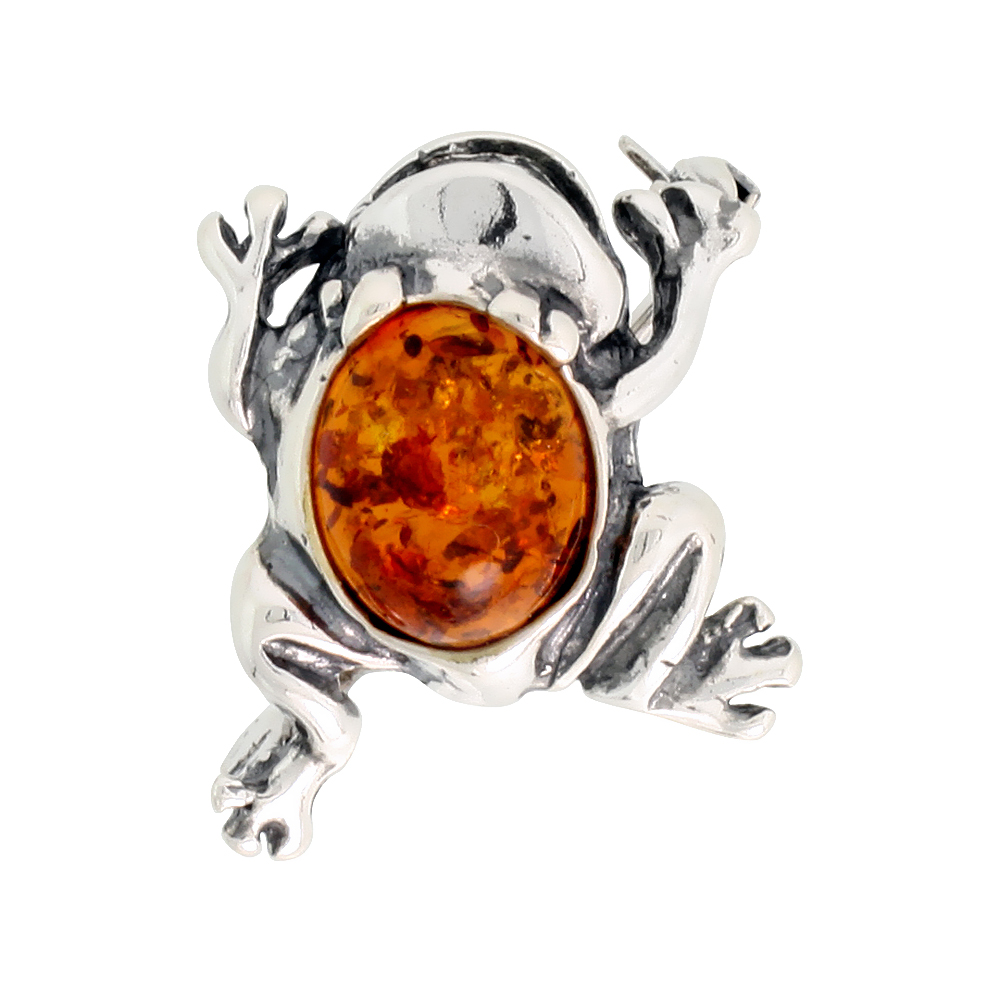 Sterling Silver Leaping Frog Amber Brooch Pin, 11/16 inch wide