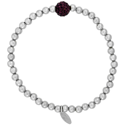 Sterling Silver Stretch Bead Bracelet Swarovski Purple Crystal Disco Ball Rhodium Finish, 5/32 inch wide