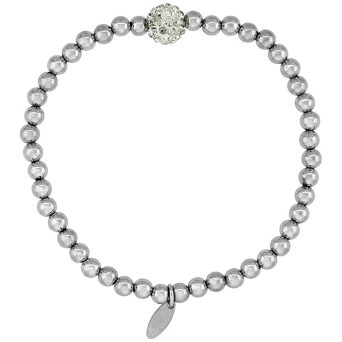 Sterling Silver Stretch Bead Bracelet Swarovski Clear Crystal Disco Ball Rhodium Finish, 5/32 inch wide