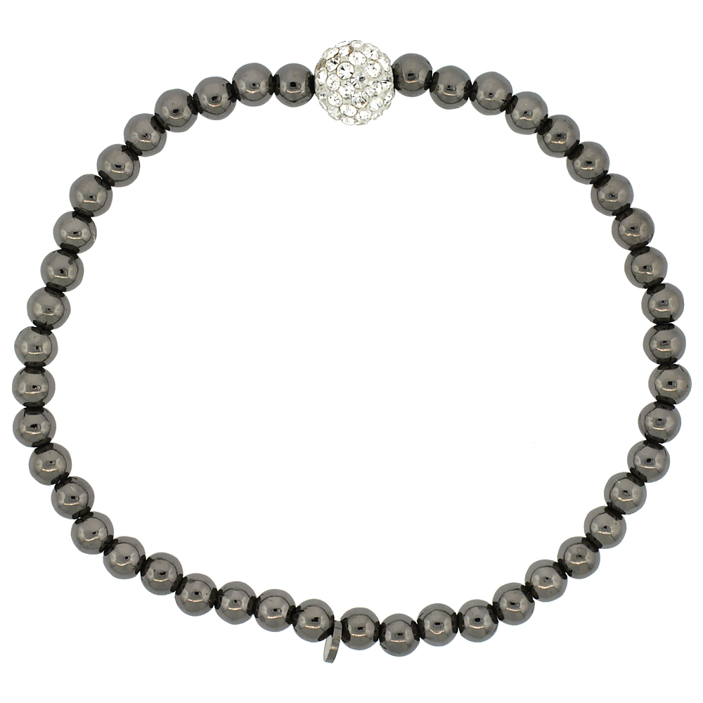 Sterling Silver Stretch Bead Bracelet Swarovski Clear Crystal Disco Ball Black Ruthenium Finish, 5/32 inch wide