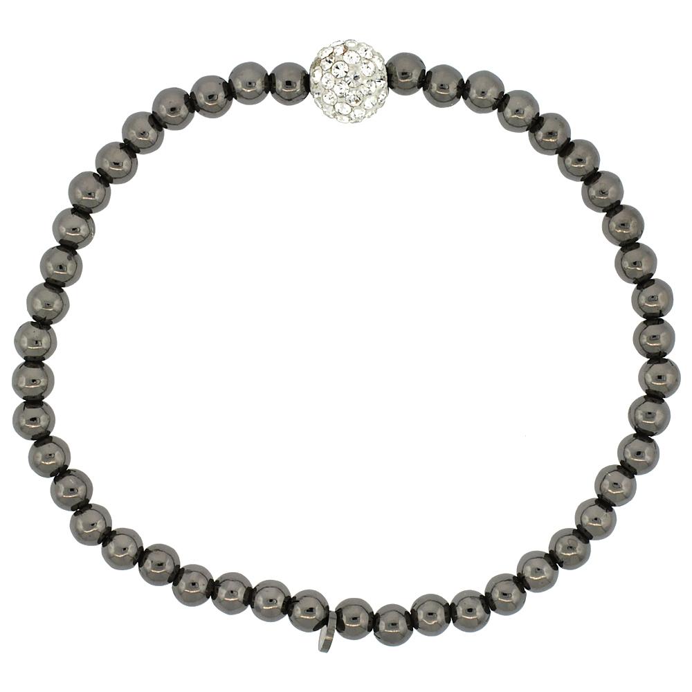 Sterling Silver Stretch Bead Bracelet Swarovski Clear Crystal Disco Ball Black Ruthenium Finish, 5/32 inch wide