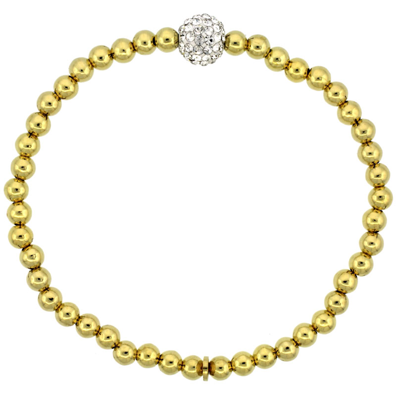 Sterling Silver Stretch Bead Bracelet Swarovski Clear Crystal Disco Ball Yellow Gold Finish, 5/32 inch wide