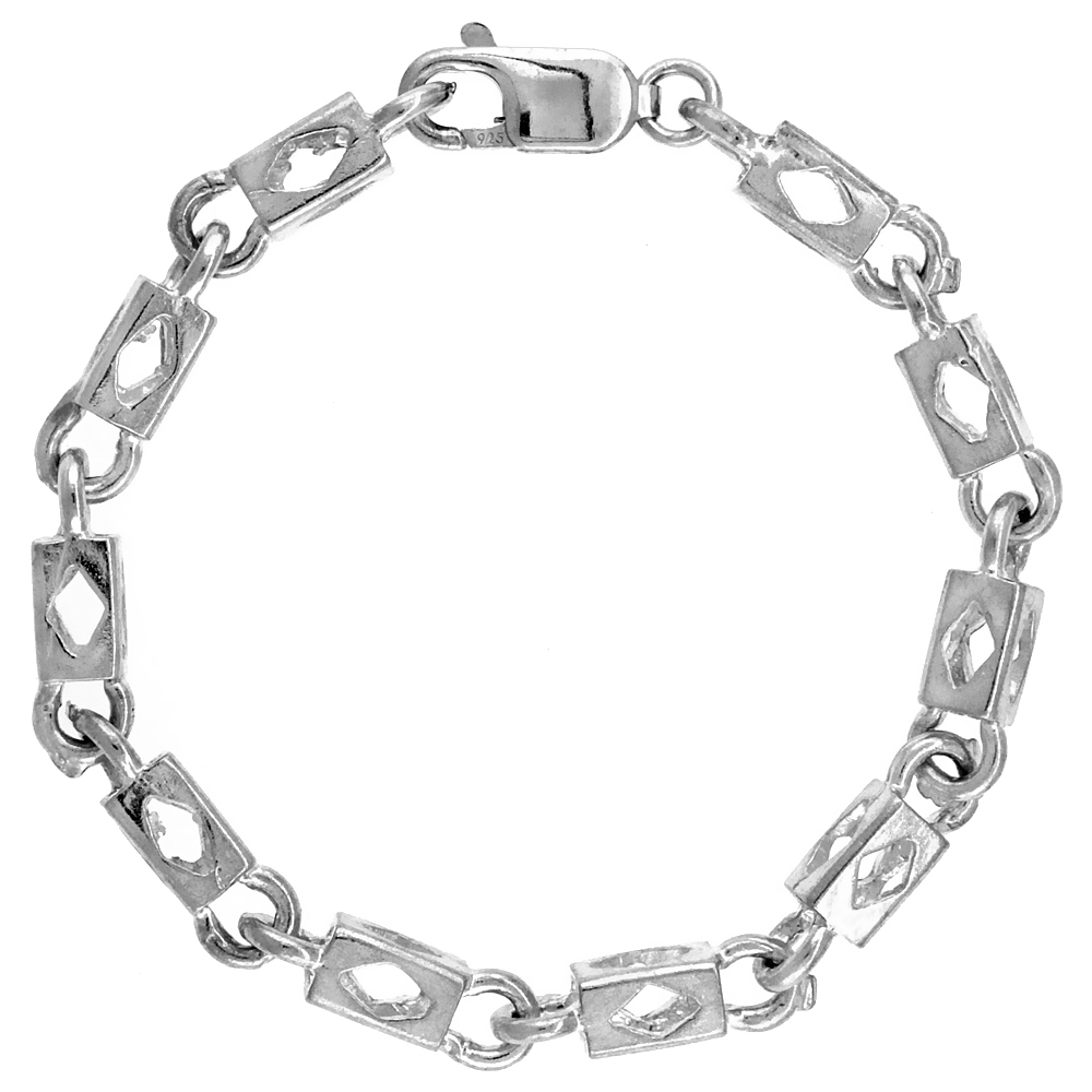 Sterling Silver Rectangular Bullet Chain (Available in Different Lengths), 7/32 in. (5.5 mm) wide