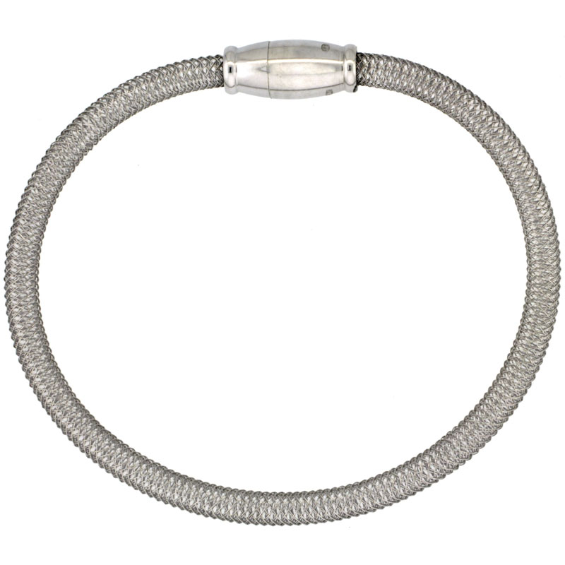Sterling Silver Flexible Mesh Bangle Bracelet Magnetic Clasp Rhodium Finish, 5/32 inch wide