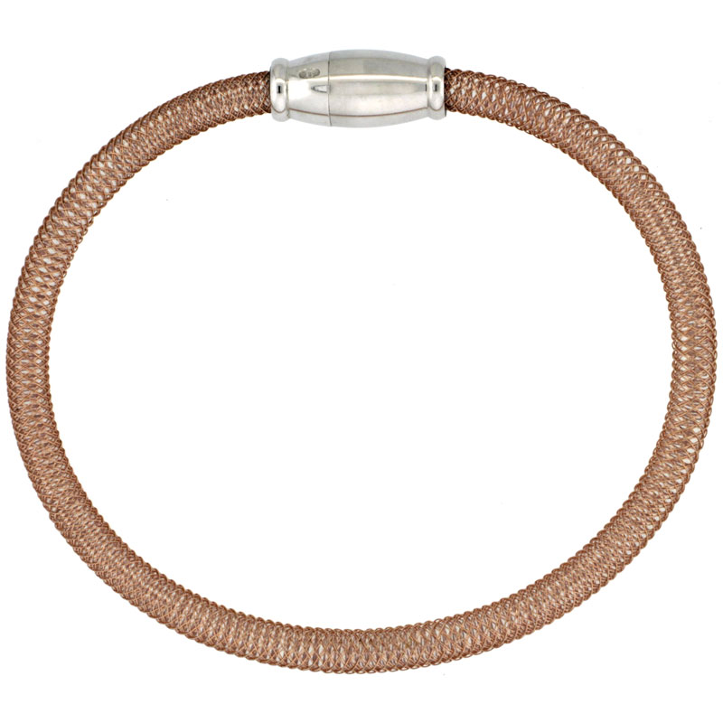 Sterling Silver Flexible Mesh Bangle Bracelet Magnetic Clasp Rose Gold Finish, 5/32 inch wide