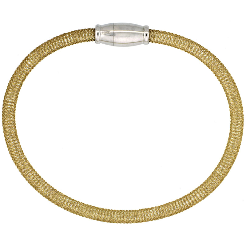 Sterling Silver Flexible Mesh Bangle Bracelet Magnetic Clasp Yellow Gold Finish, 5/32 inch wide