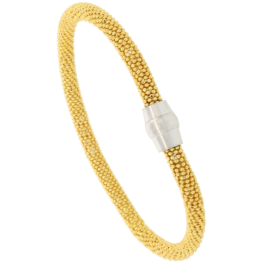 Sterling Silver 7 inch Flexible Beaded Bangle Bracelet Magnetic Clasp Yellow Gold Finish