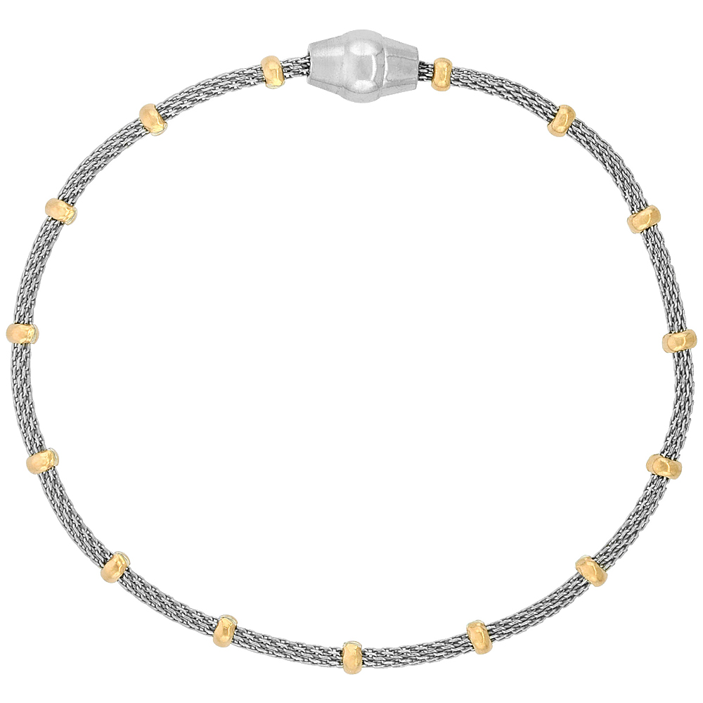Sterling Silver 7 inch Mesh Bracelet Magnetic Clasp Rose Gold Accents