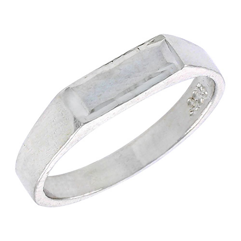 Sterling Silver Rectangular ID Baby Ring / Kid's Ring / Toe Ring (Available in Size 1 to 5)