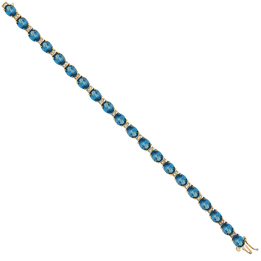 10K Yellow Gold Natural London Blue Topaz Oval Tennis Bracelet 7x5 mm stones, 7 inches