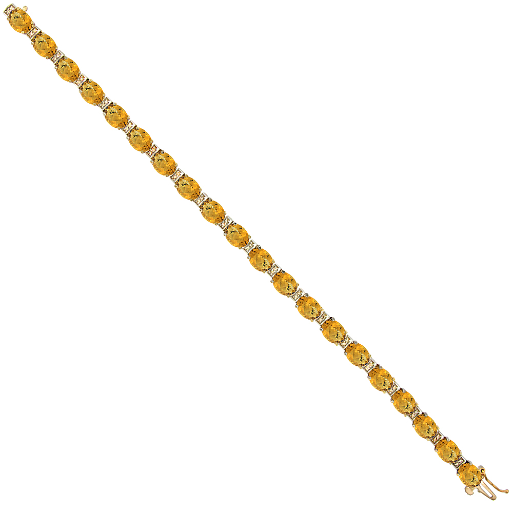 10K Yellow Gold Natural Whisky Quartz Oval Tennis Bracelet 7x5 mm stones, 7 inches