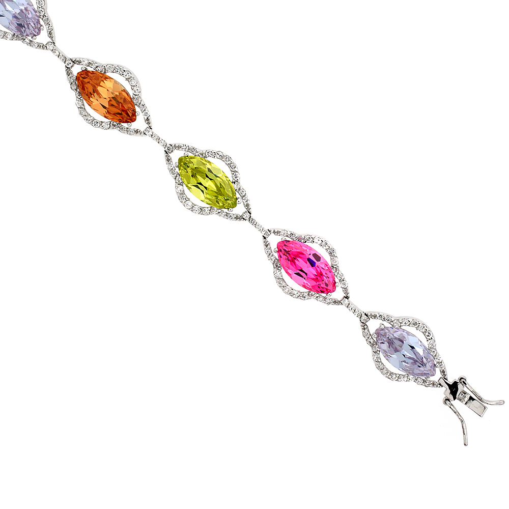 Sterling Silver Multi Color Cubic Zirconia Bracelet Ladies Large Marquise Shape Stones 14 mm wide 7  inch
