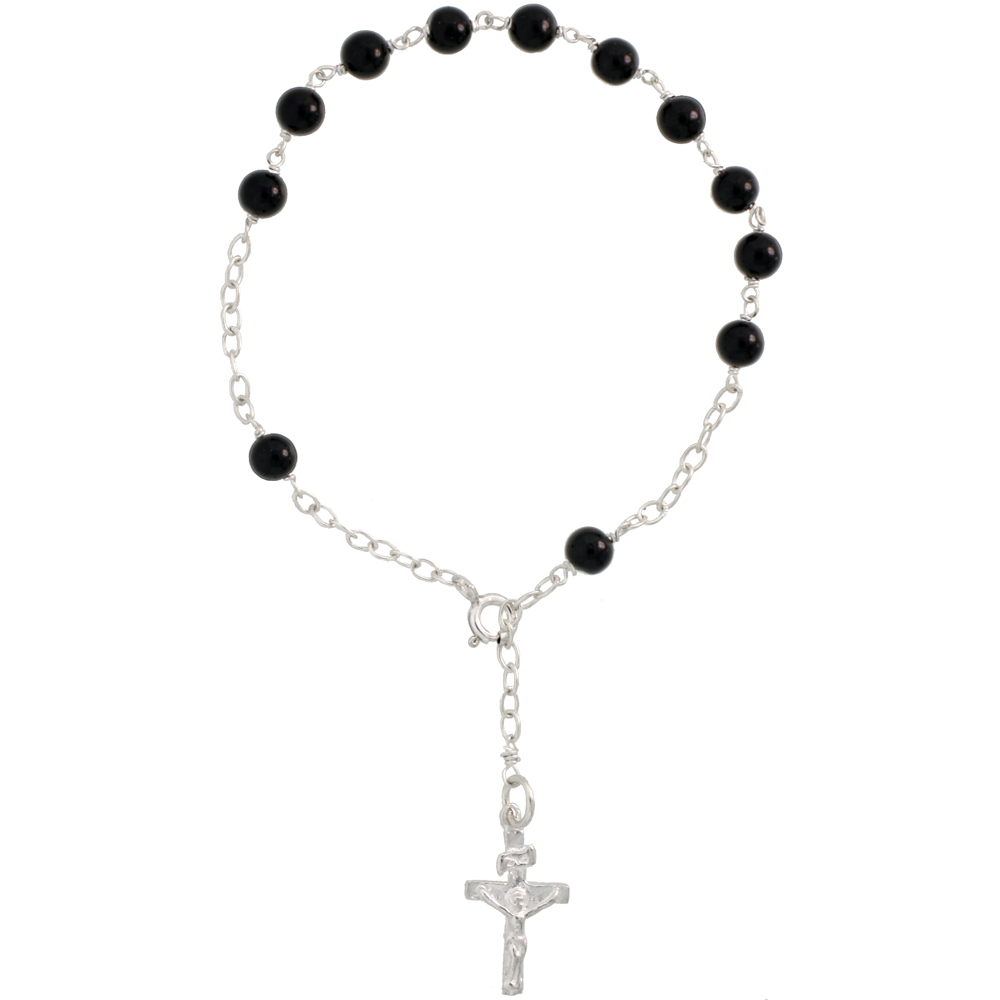 Sterling Silver Natural Black Onyx Rosary Bracelet 5 mm Beads, 7 1/4 inch long
