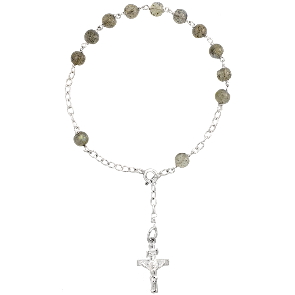 Sterling Silver Natural Labradorite Rosary Bracelet 5 mm Beads, 7 1/4 inch long