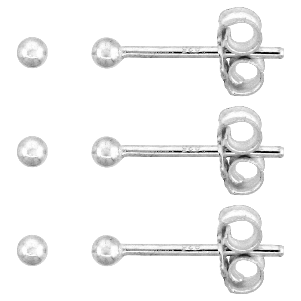 3-Pair Pack Sterling Silver Teeny 2mm Ball Stud Earrings / Nose Studs for Women and Girls 1/16 inch