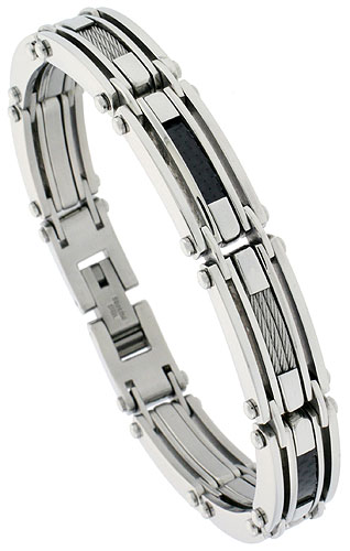 Gent's Stainless Steel Cable & Black Carbon Fiber Bracelet, 1/2 inch wide, 8 1/2 inch long