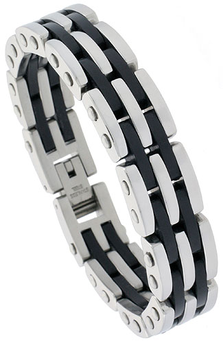 Stainless Steel Bracelet For Men with Black Rubber Heavy Bar Links, 5/8 inch wide, 8 1/2 inch long