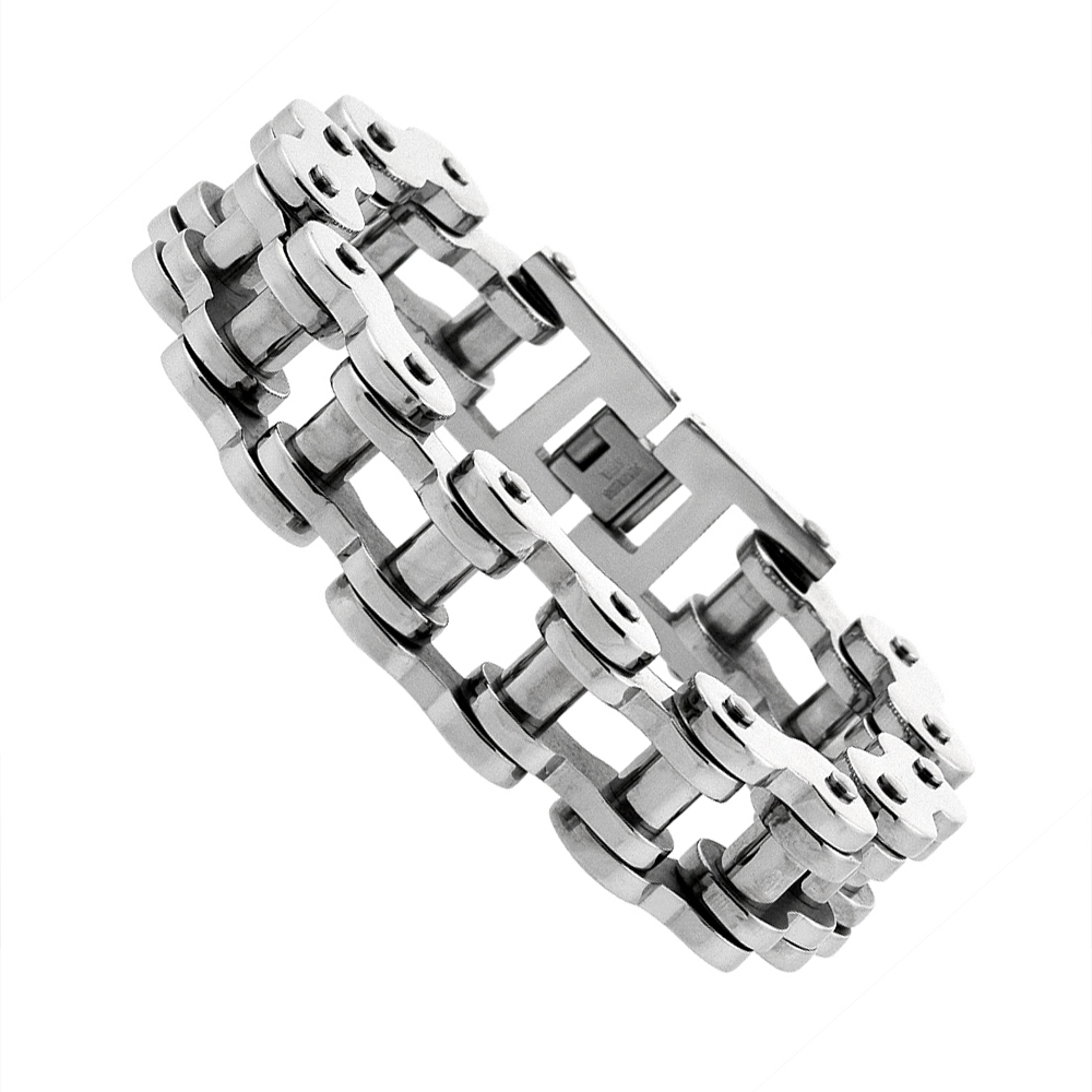 Stainless Steel Bicycle Chain Bracelet For Men Extra Large 3/4 inch wide, 9 inch