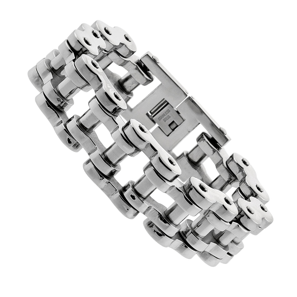 Stainless Steel Bicycle Chain Bracelet For Men Super Large almost 1 inch wide, 9 inch