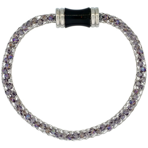 Stainless Steel Amethyst Crystal Mesh Bracelet For Women Magnetic-clasp 7.5 inch long