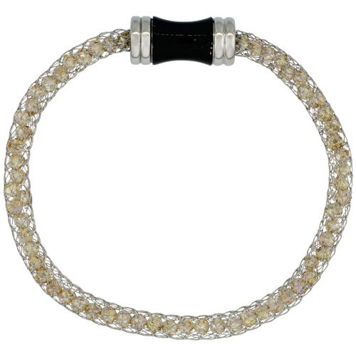 Stainless Steel Peach Crystal Mesh Bracelet For Women Magnetic-clasp 7.5 inch long