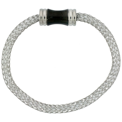 Stainless Steel White Crystal Mesh Bracelet For Women Magnetic-clasp 7.5 inch long