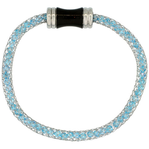 Stainless Steel Blue Topaz Crystal Mesh Bracelet For Women Magnetic-clasp 7.5 inch long