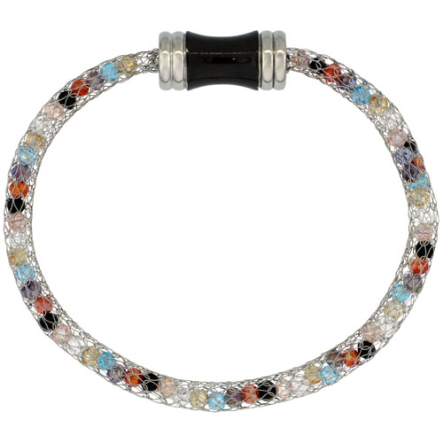 Stainless Steel Multi-color Crystal Mesh Bracelet For Women Magnetic-clasp 7.5 inch long