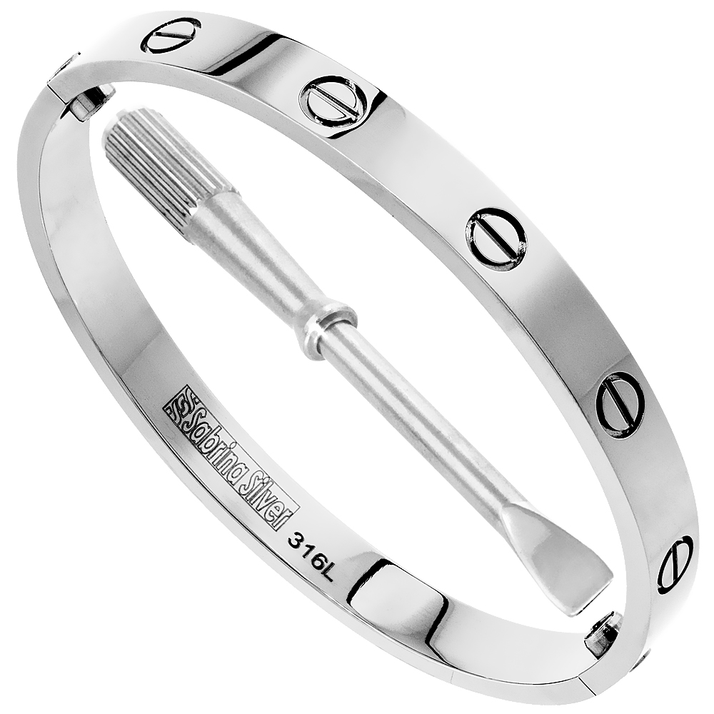 Stainless Steel Screws Bangle Bracelet for Women Oval High Polish 7mm wide, fits 7.75 inch wrists