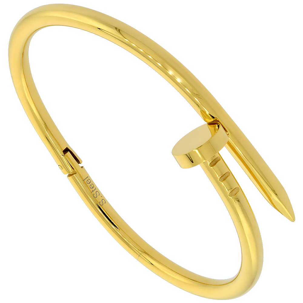 Stainless Steel Nail Bracelet for Women Gold tone, fits 7 1/2 inch wrists