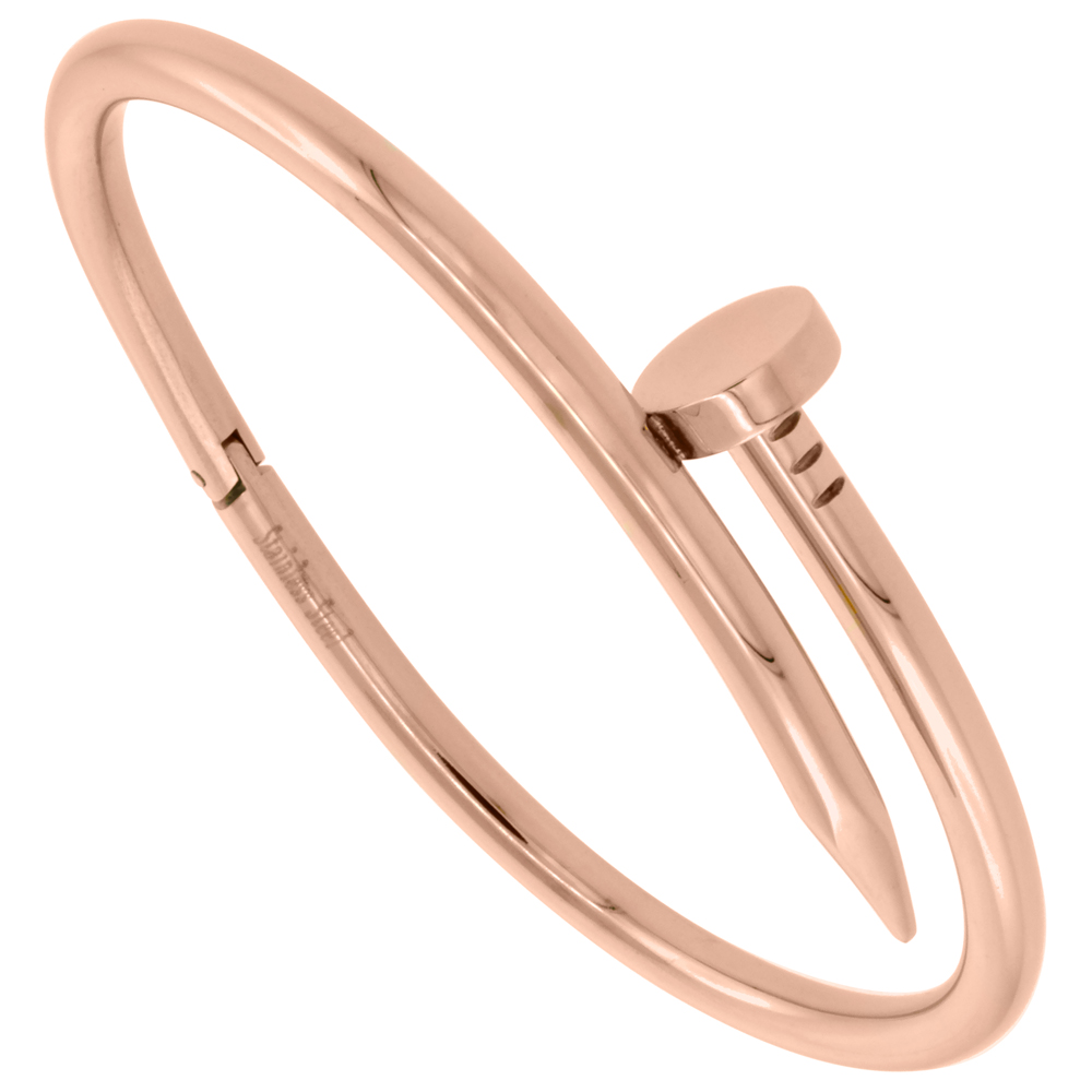 Stainless Steel Nail Style Bangle Bracelet Oval Rose Gold Tone, fits 7 inch wrists